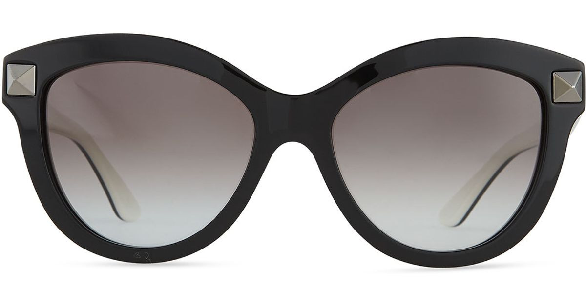 c2bb5105510 Lyst - Valentino Rockstud-front Cat-eye Sunglasses in Black