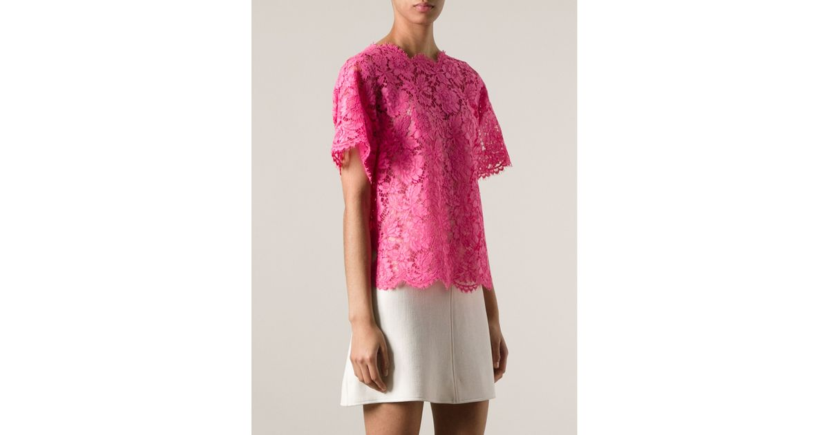 Valentino Floral Lace Blouse in Pink | Lyst