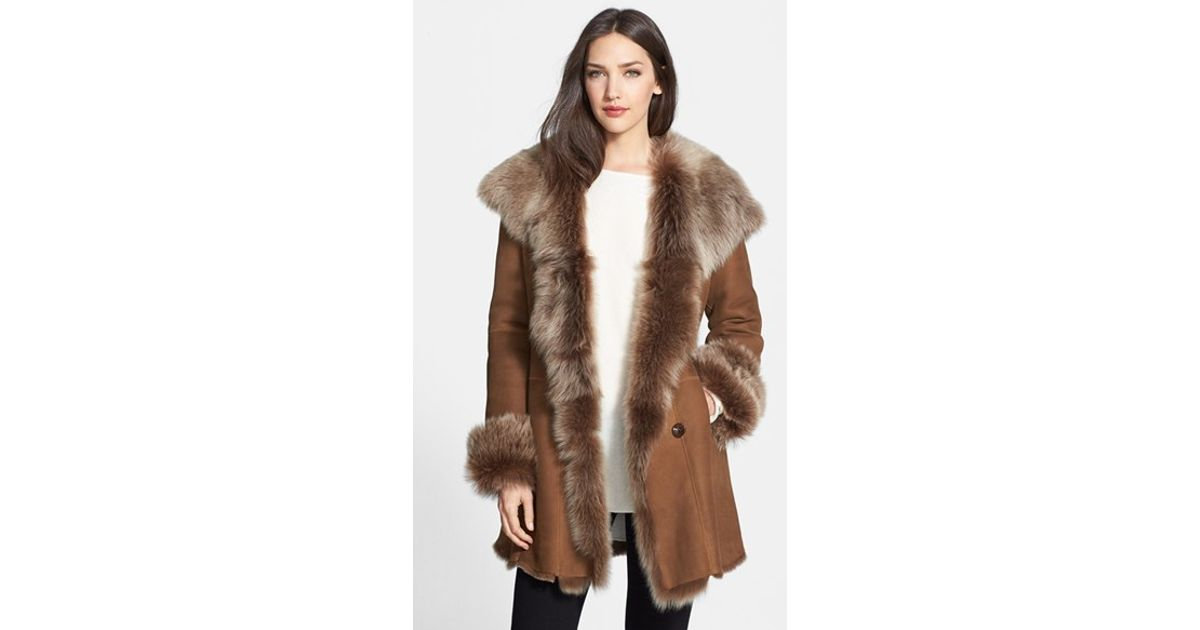 Hide society Hiso Genuine Shearling Coat in Brown | Lyst