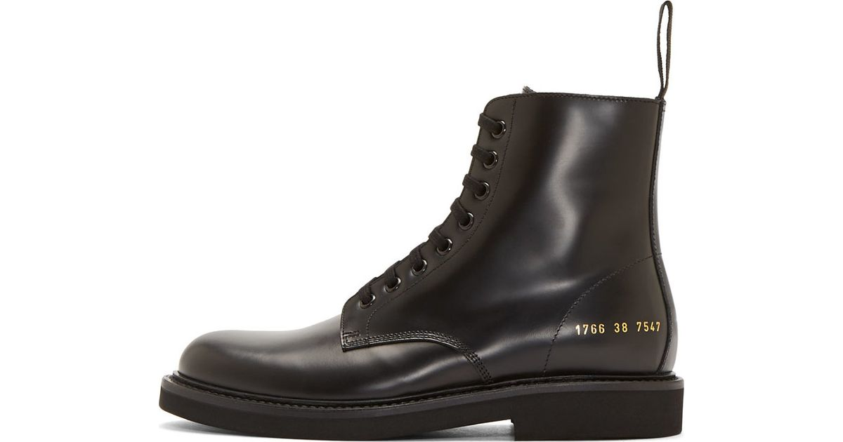 9f9594a8fa5d4 Lyst - Common Projects Black Leather Combat Boots in Black for Men