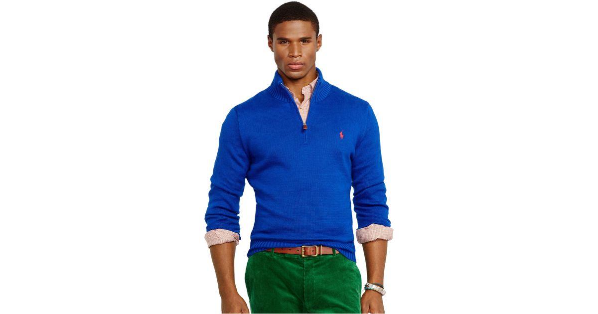 79bb6ed157d5 ... sale lyst polo ralph lauren high twist cotton half zip mockneck sweater  in blue for men