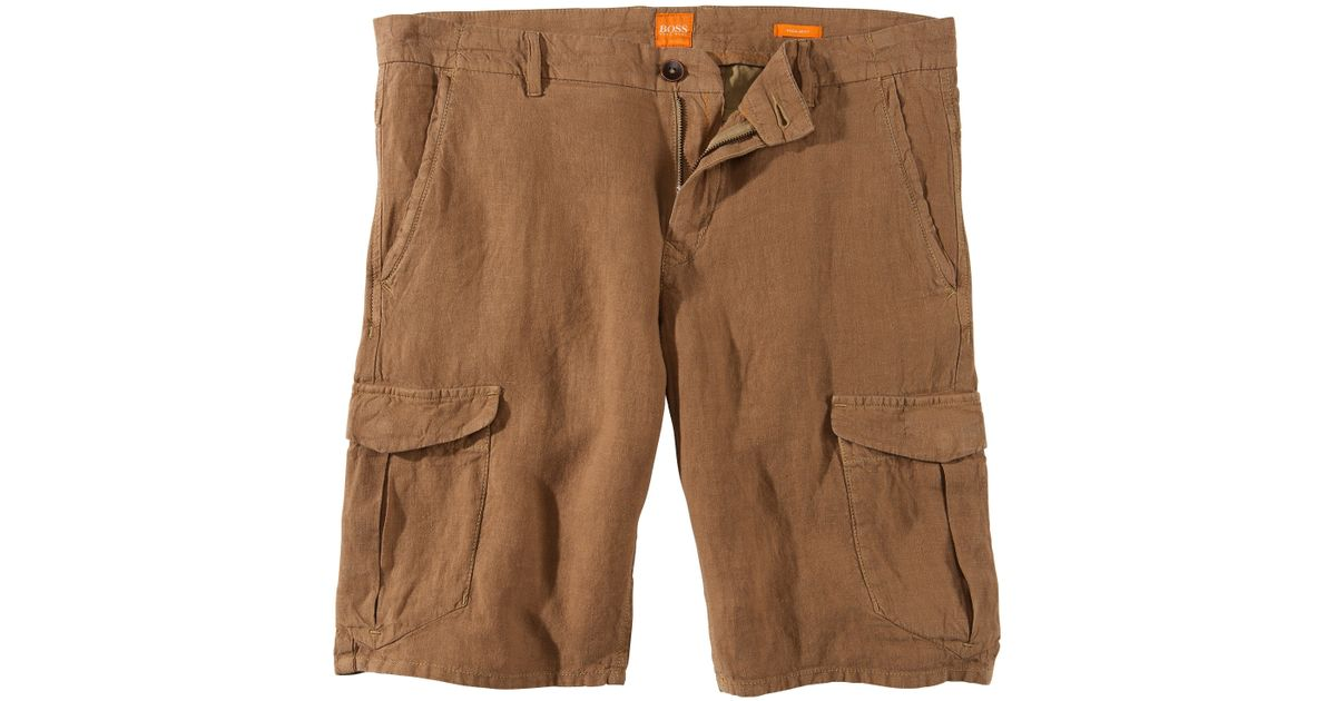 56fd8383e BOSS Orange 'schwinn' | Regular Fit Linen Cargo Shorts in Natural for Men -  Lyst