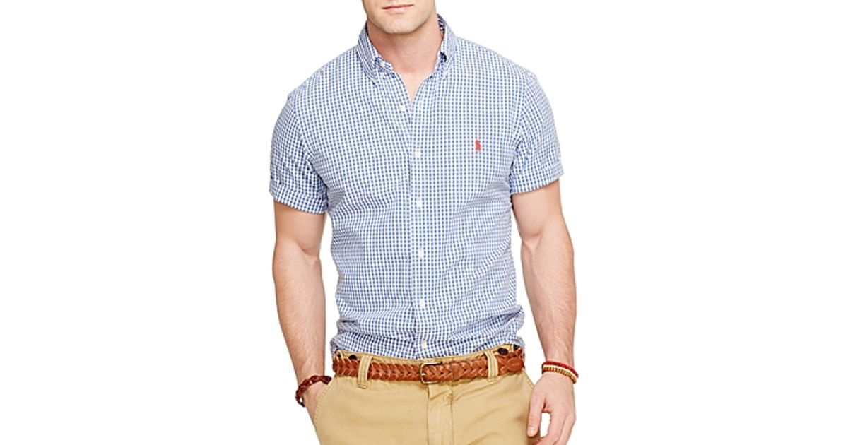 c845778bd19 Ralph Lauren Polo Short Sleeved Checked Seersucker Button Down Shirt -  Classic Fit in Blue for Men - Lyst