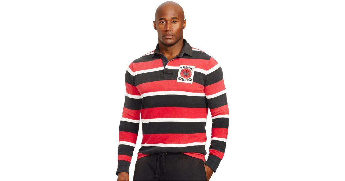 Lyst polo ralph lauren big and tall striped jersey rugby for Big and tall polo rugby shirts