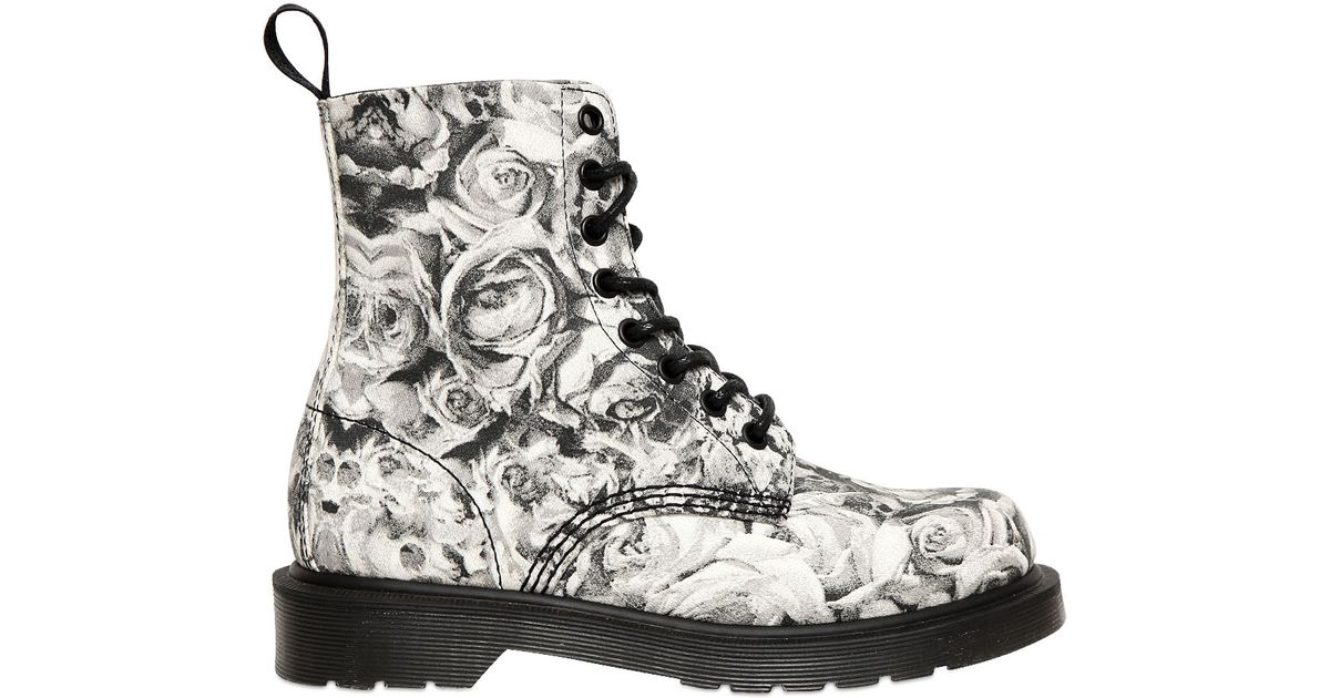 Lyst Dr Martens 30mm Skull Roses Printed Canvas Boots