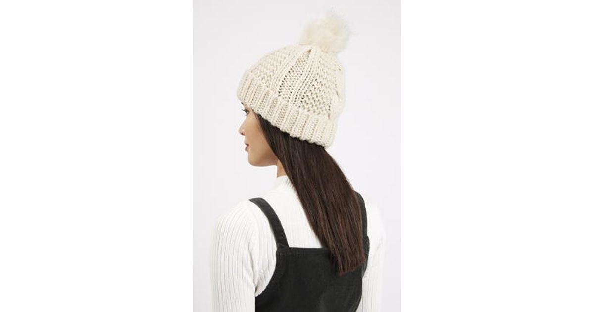 TOPSHOP Cable Knit Faux Fur Pom Beanie in Natural - Lyst a5dff0d9873a