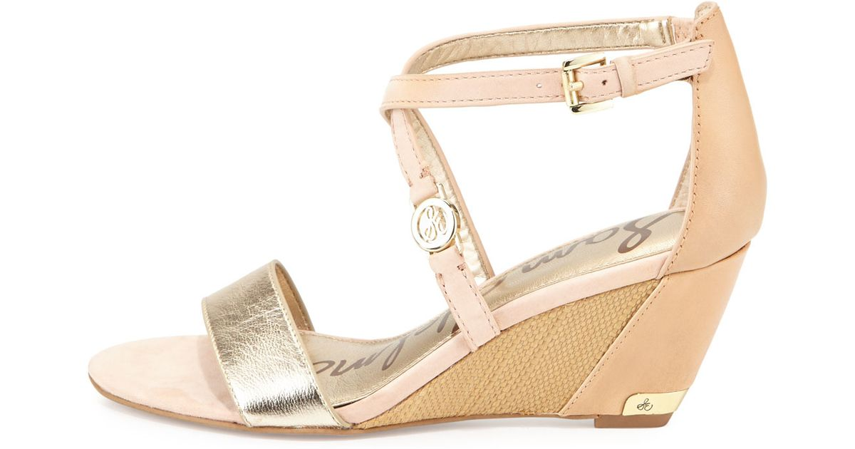 sam edelman leather wedge sandal in gold