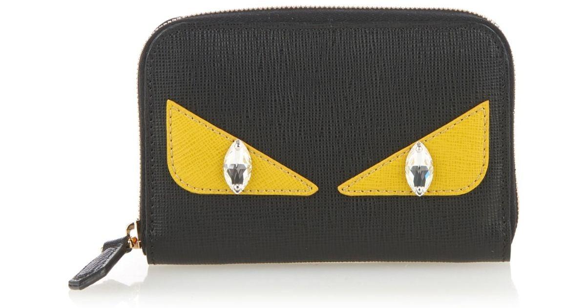 77c18487b0a1 Lyst - Fendi Bag Bugs Mini Zip-around Wallet in Black