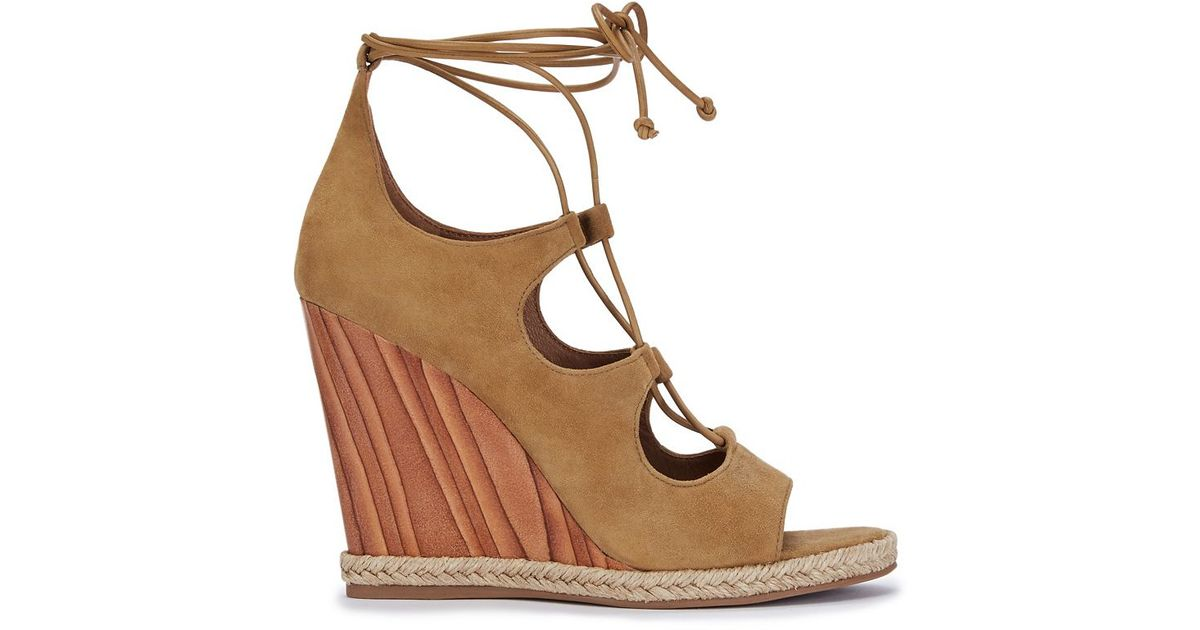 7b9941cf96b8 Lyst - Tory Burch Raya Lace-up Wedge in Brown