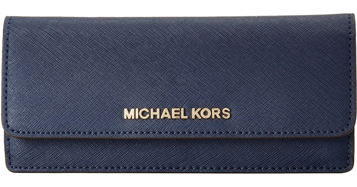 a649a3d76cc8 MICHAEL Michael Kors Jet Set Travel Flat Wallet in Blue - Lyst