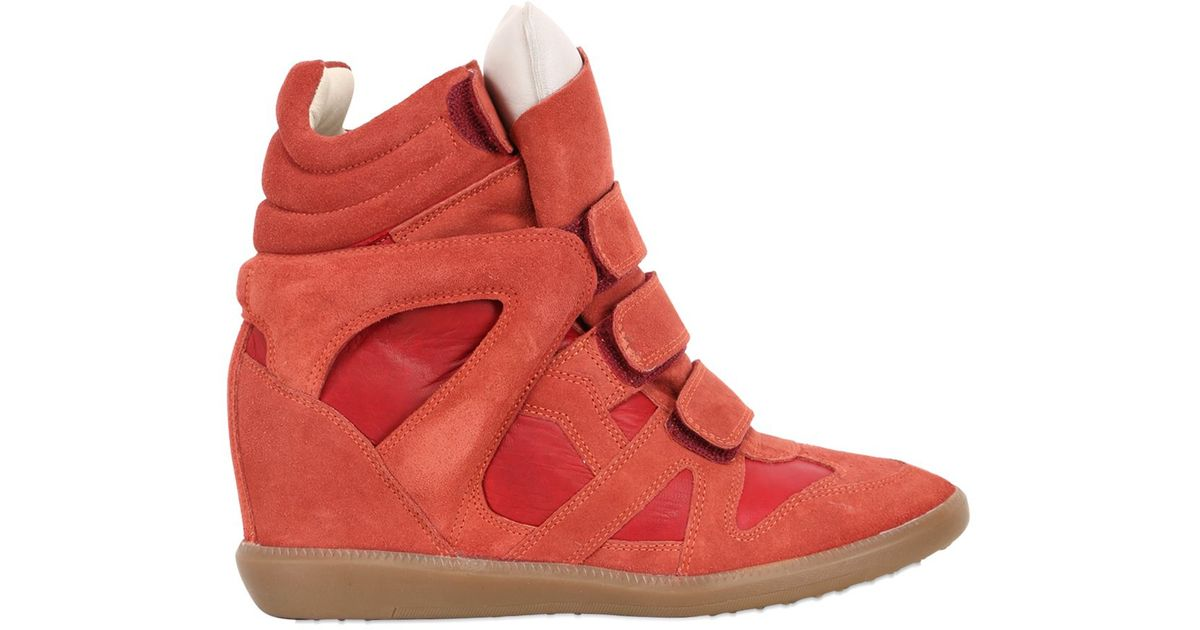 e30fdedfaa Isabel Marant 80mm Burt Suede Wedge High Top Sneakers in Red - Lyst