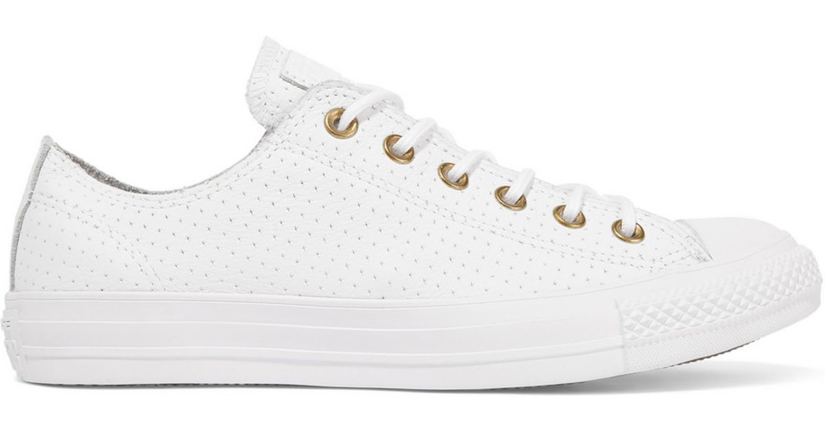Converse Chuck Taylor All Star Perforated Leather Sneakers in White - Lyst f6ca9ab4e