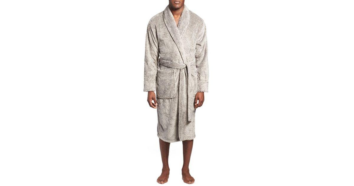 Lyst - Daniel Buchler Mosaic Stripe Fleece Robe in Gray for Men 135d6ca66