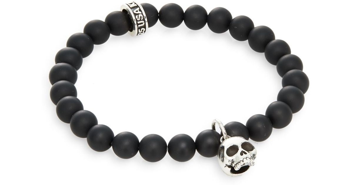King baby studio black onyx sterling silver beaded skull for King baby jewelry sale