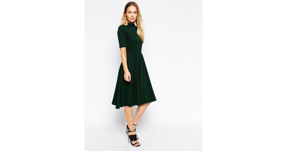 dc439f51e2e5 ASOS High Neck Textured Midi Dress With Short Sleeves in Green - Lyst