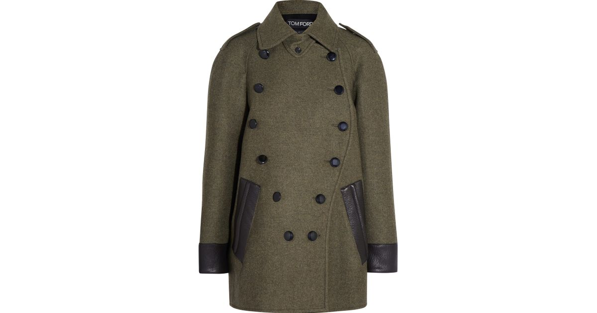 3a0ff87dad Tom Ford Leather-trimmed Cashmere And Wool-blend Coat in Green - Lyst