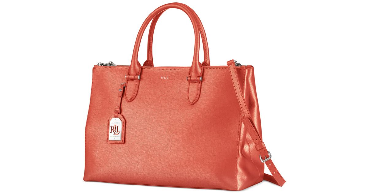 5dcc4671ca27b Lyst - Lauren by Ralph Lauren Newbury Double Zip Satchel in Orange