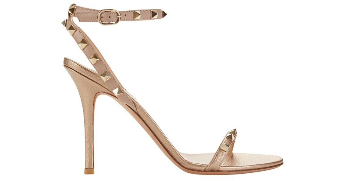 Valentino Metallic Ankle-Strap Sandals