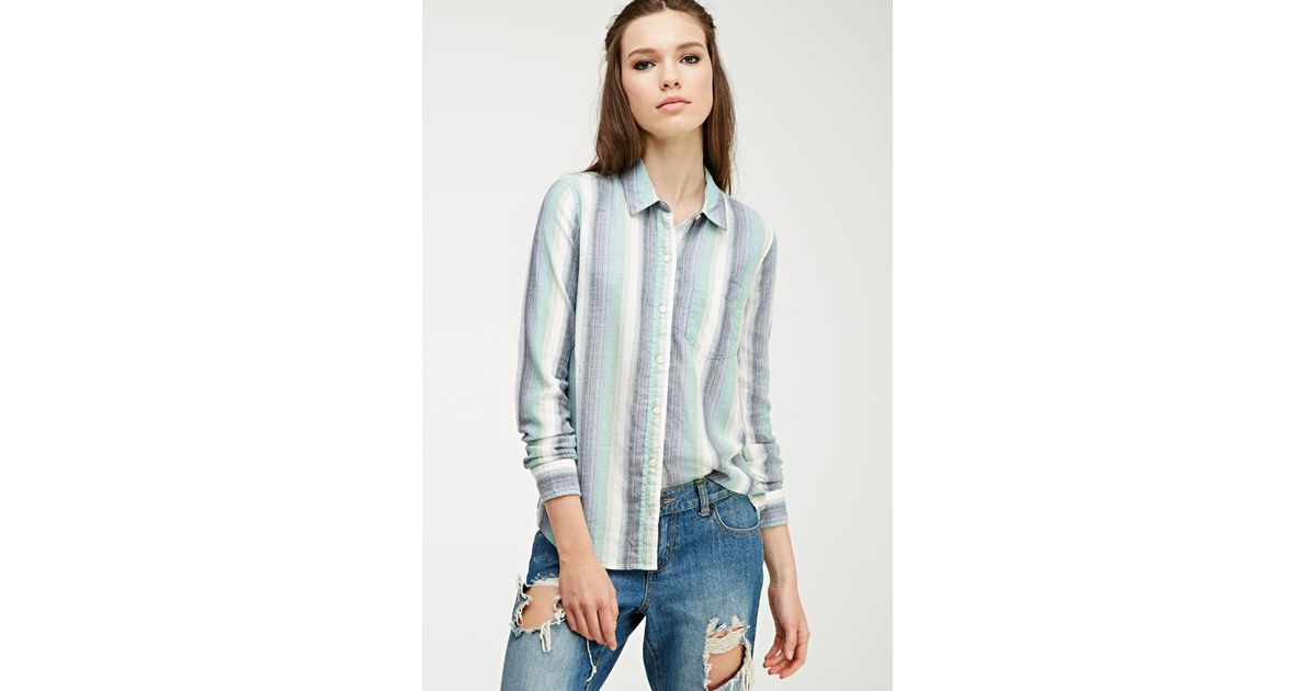 Forever 21 Multi Striped Flannel Shirt In Blue Lyst