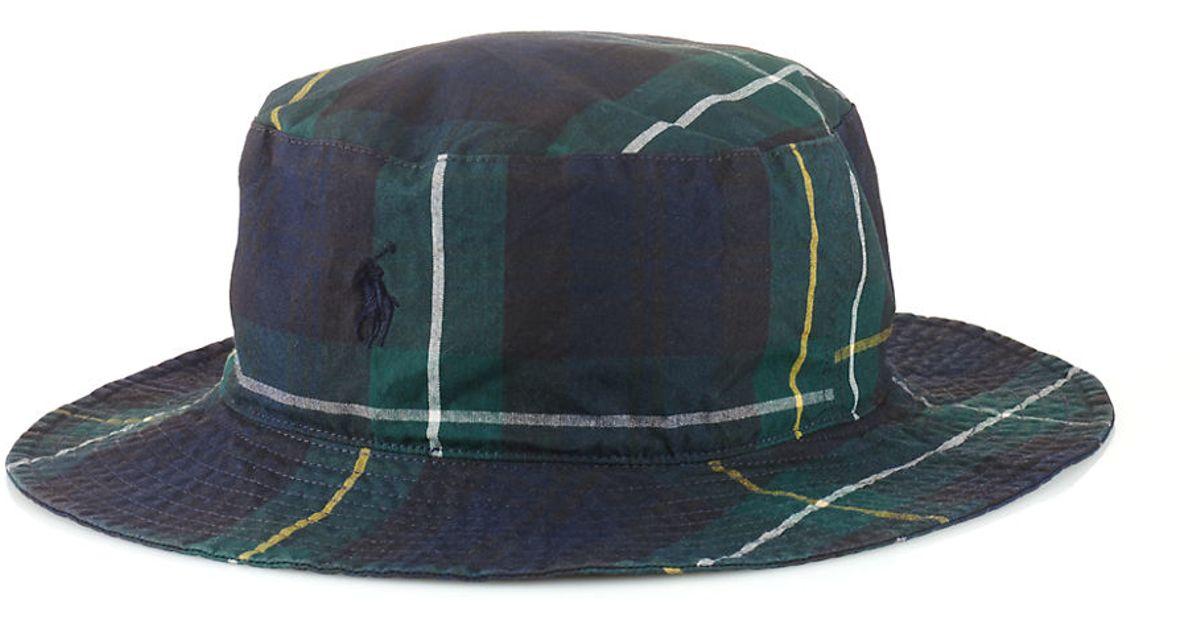 2991367d76f Lyst Polo Ralph Lauren Tartan Bucket Hat In Black For Men