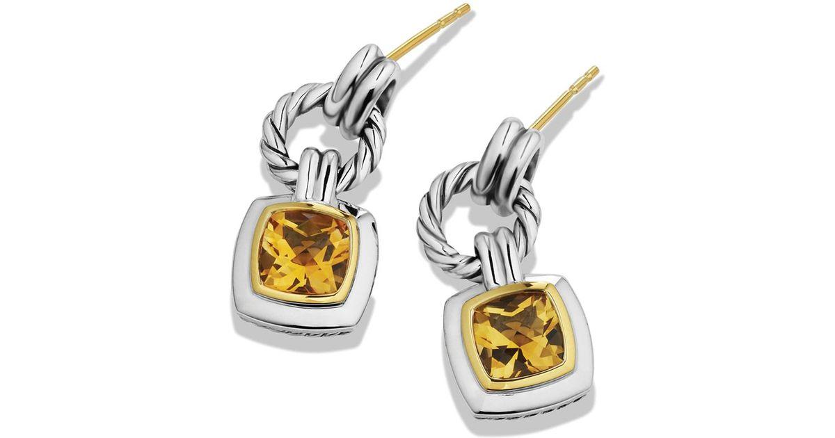 Lyst David Yurman Renaissance Drop Earrings With Citrine Gold In Metallic