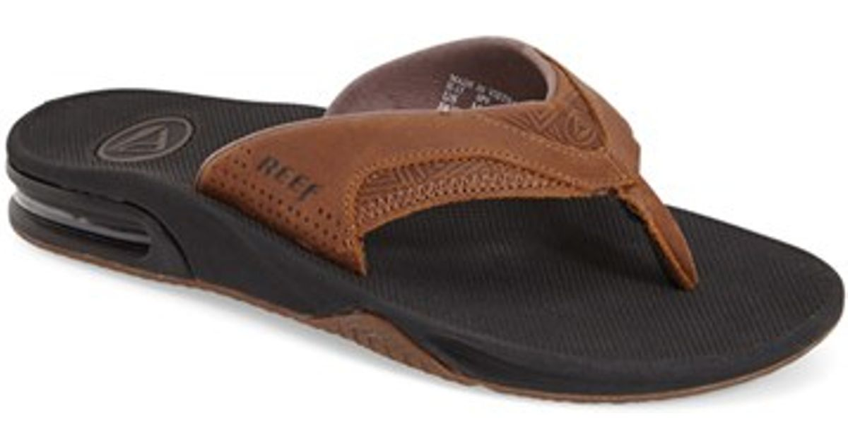 f1054cfb2aa Reef  fanning Leather  Flip Flop in Brown for Men - Lyst