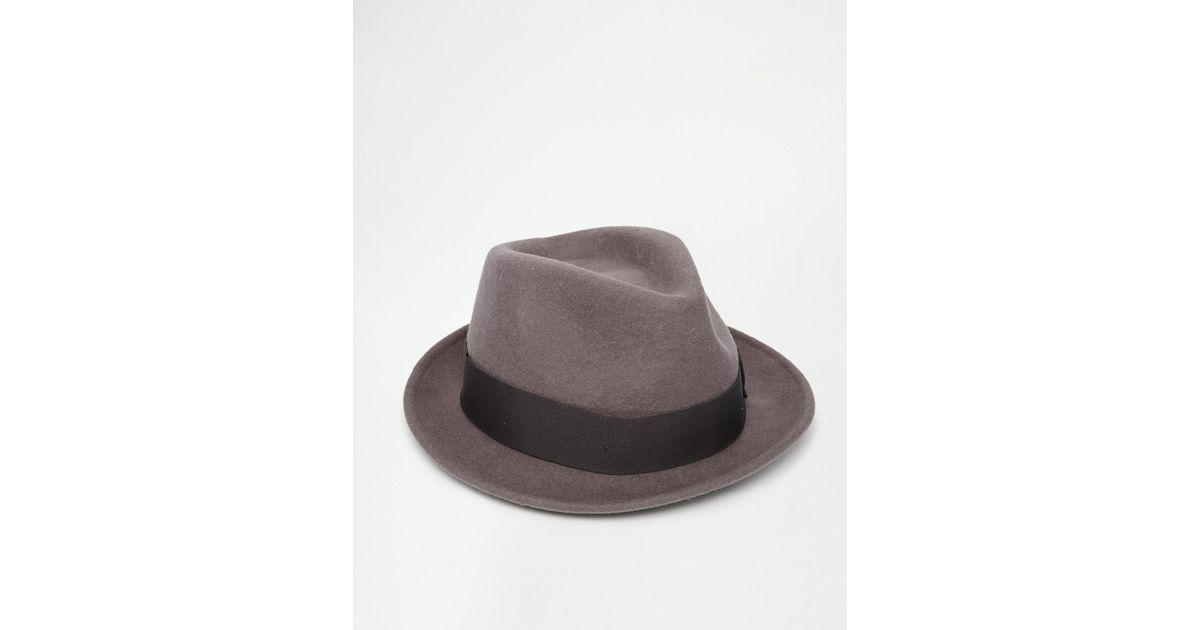 03bb1d47acf Lyst - ASOS Fedora Hat In Black With Narrow Brim in Brown for Men