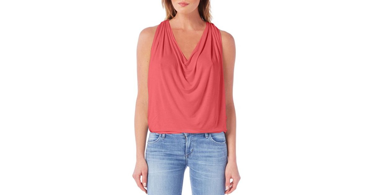 51be83ab Michael Stars Drape Neck Jersey Top in Blue - Lyst