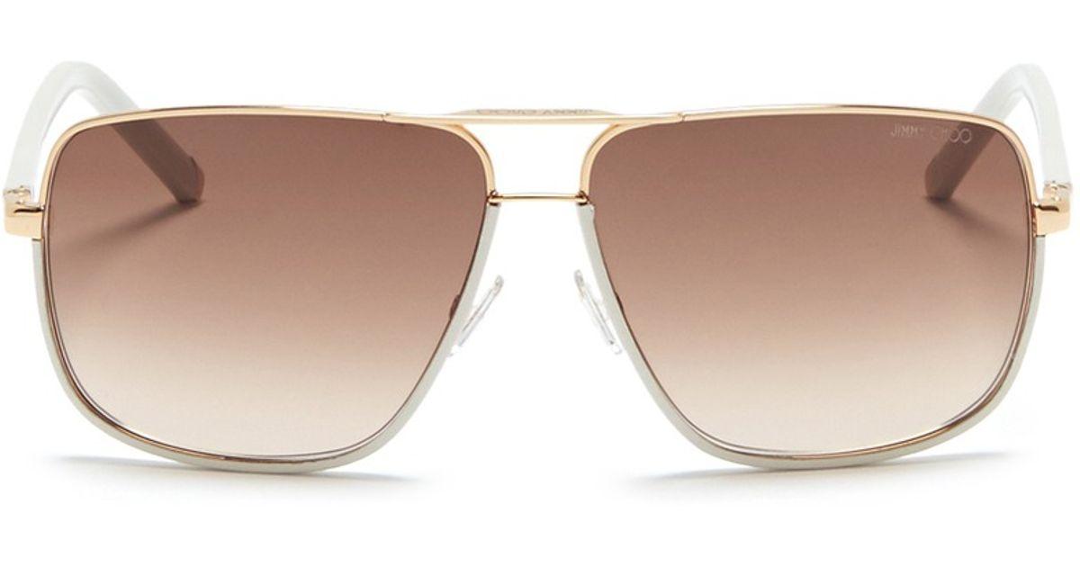 f19fa0388c7 Lyst - Jimmy Choo  Carry  Leather Trim Wire Rim Sunglasses in White