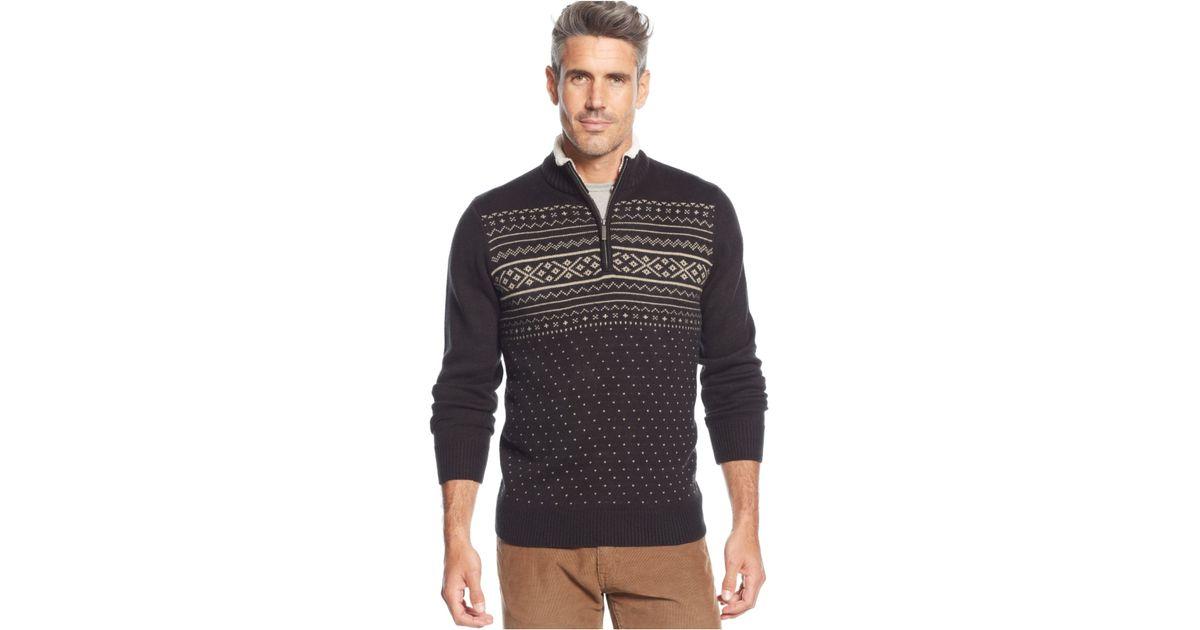 Lyst - Geoffrey beene Fair Isle Quarter-Zip Sweater in Black for Men