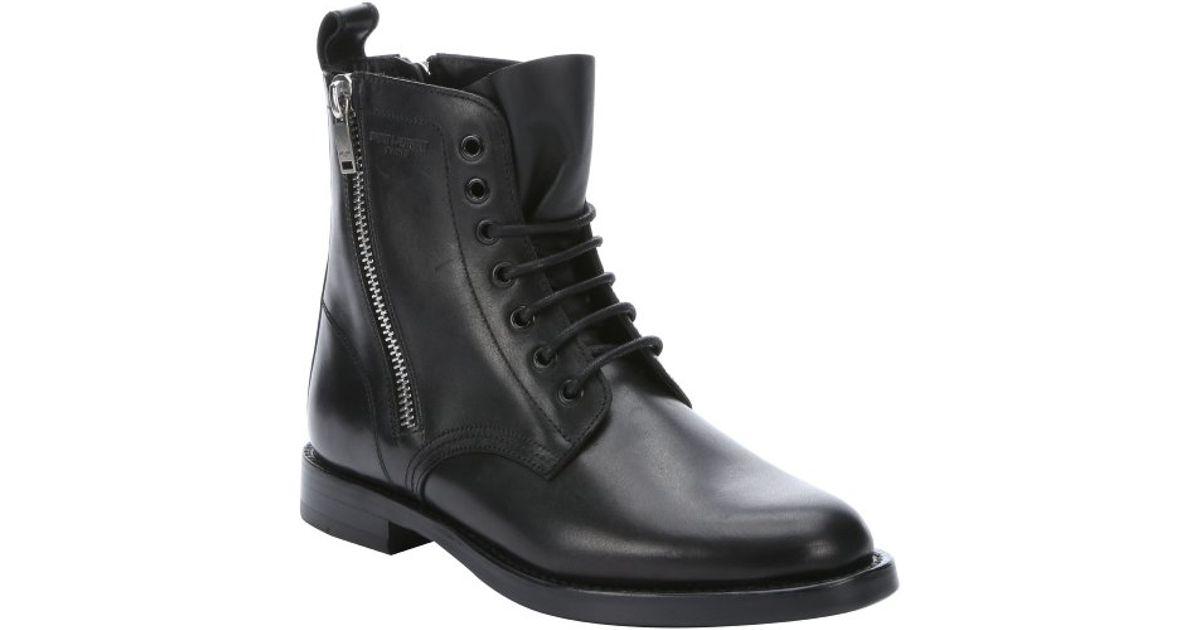 b4288e9b203 Lyst - Saint Laurent Black Leather 'rangers' Side Zip Combat Ankle Booties  in Black