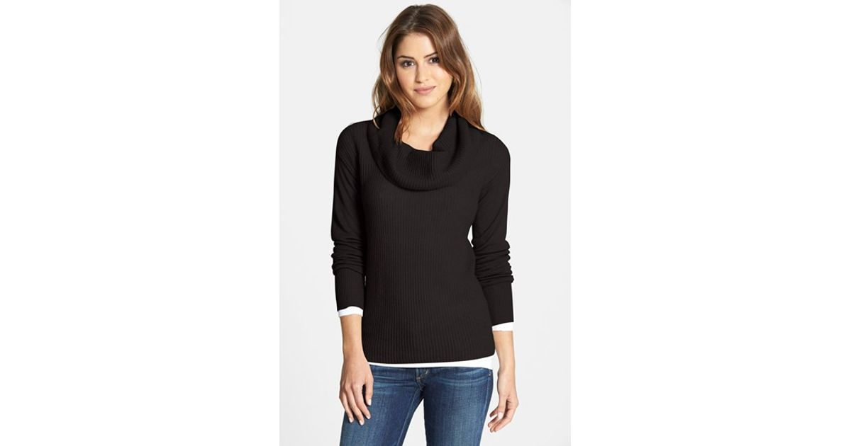 Caslon Cashmere Cowl Neck Sweater in Black | Lyst