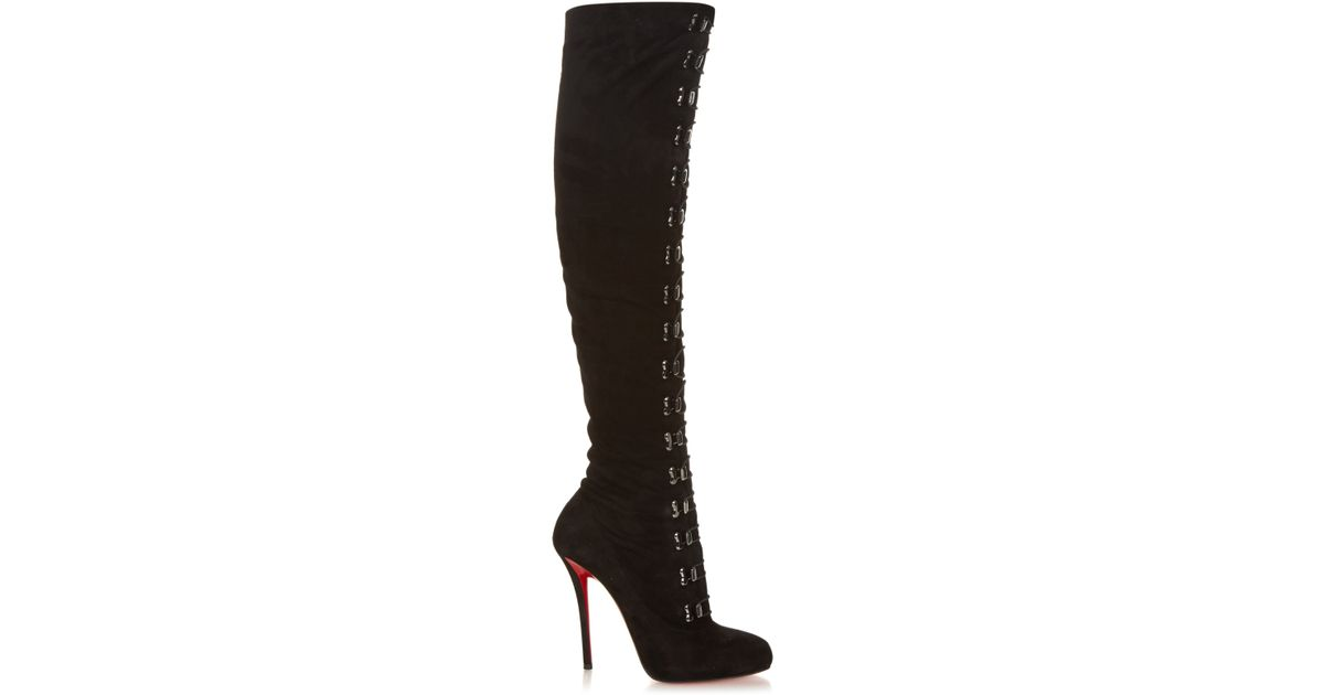 265058489090 Christian Louboutin Top Croche Suede Over-The-Knee Boots in Black - Lyst