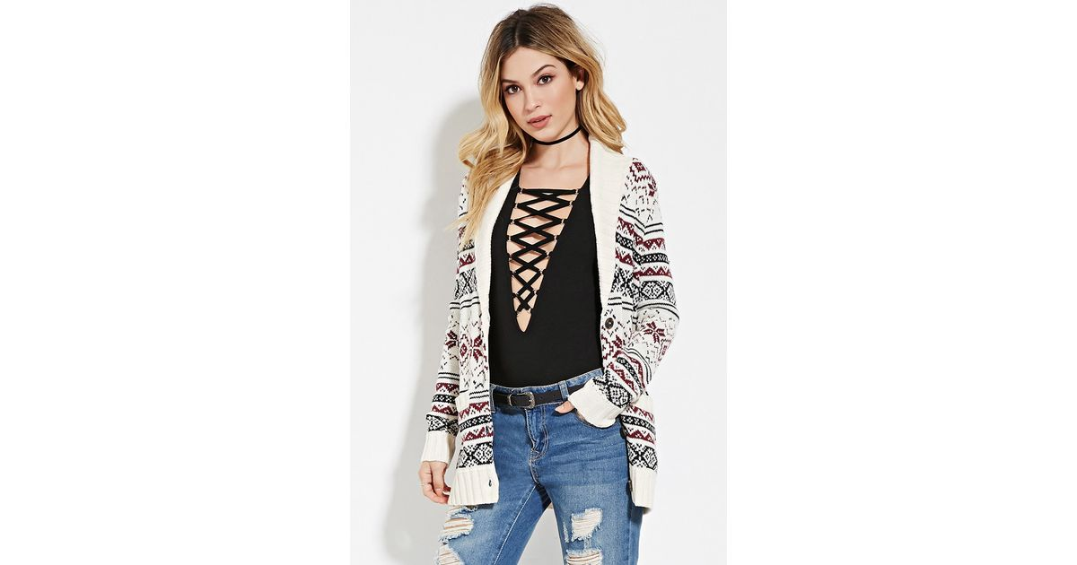 Lyst - Forever 21 Fair Isle Cardigan You've Been Added To The ...