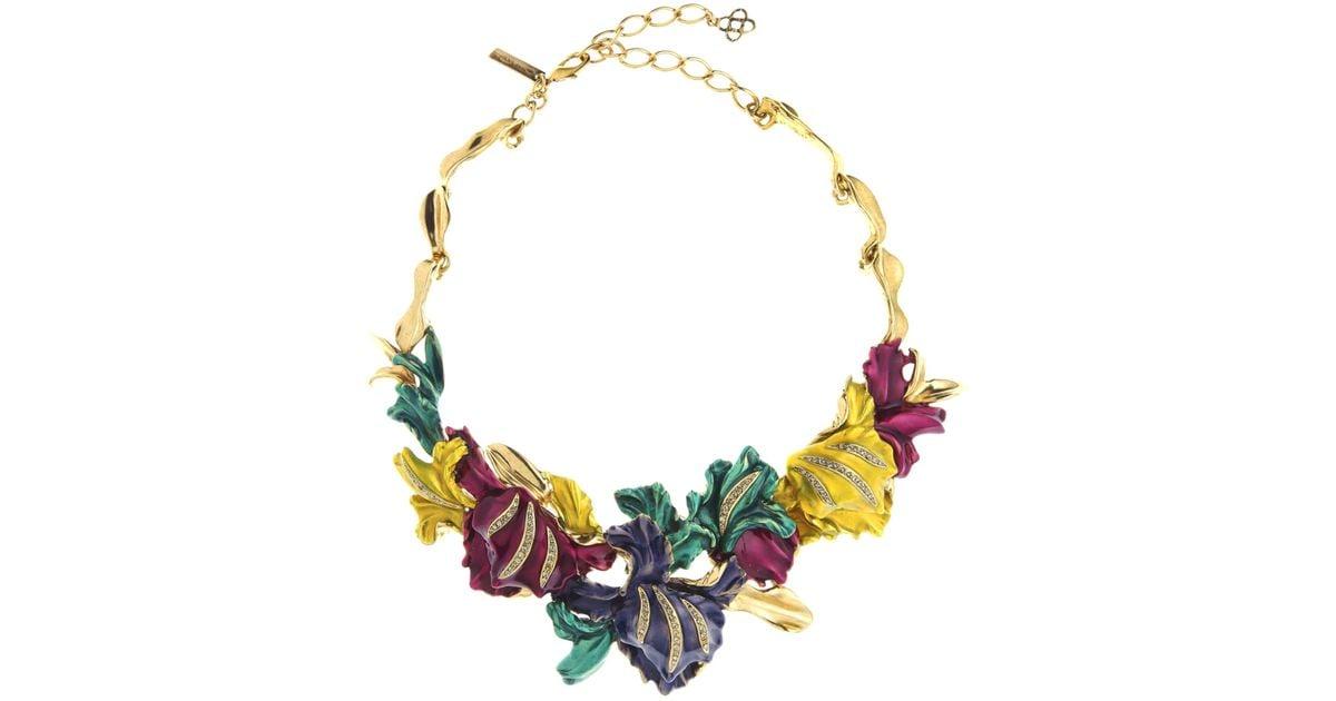 Oscar De La Renta Swarovski Crystal Cascade Rainbow Necklace QKR7v5kqB6