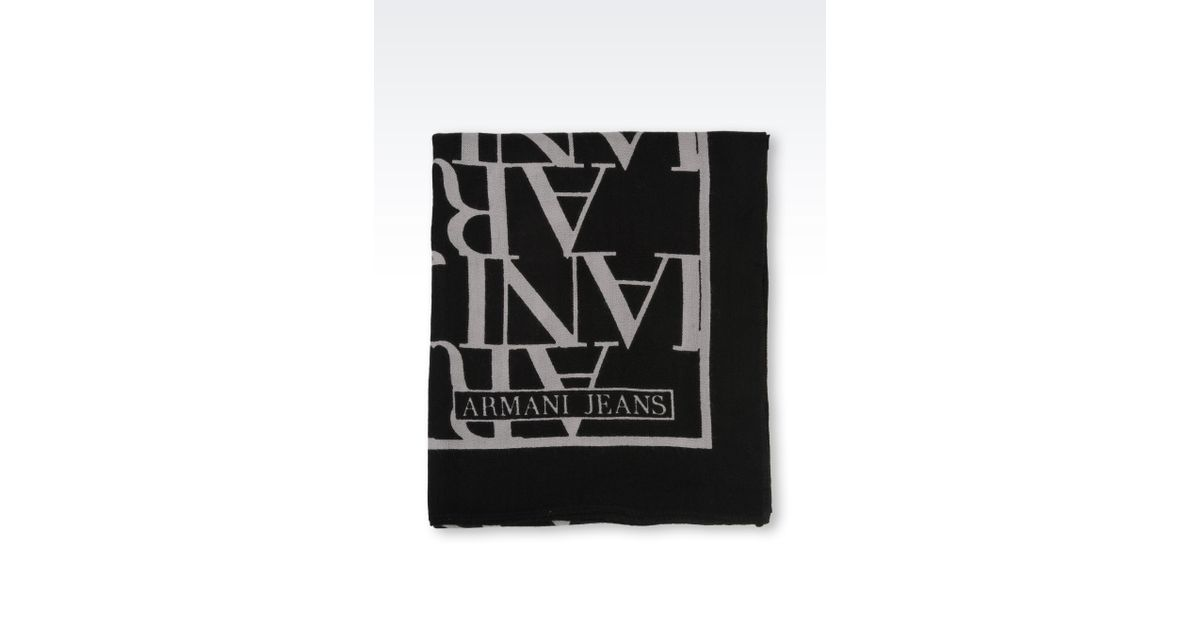 Lyst - Armani Jeans Neck Scarf in Logo Patterned Wool in Black 1c88fed9215