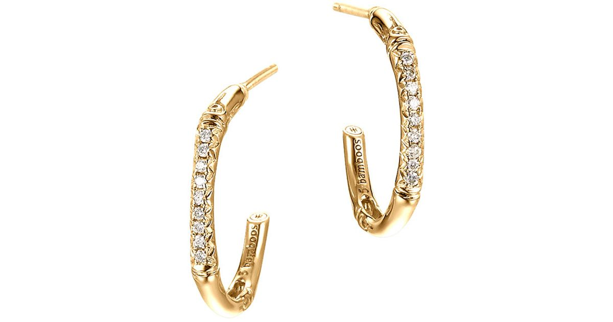 John Hardy Bamboo 18k Diamond Small J-Hoop Earrings c6xqq