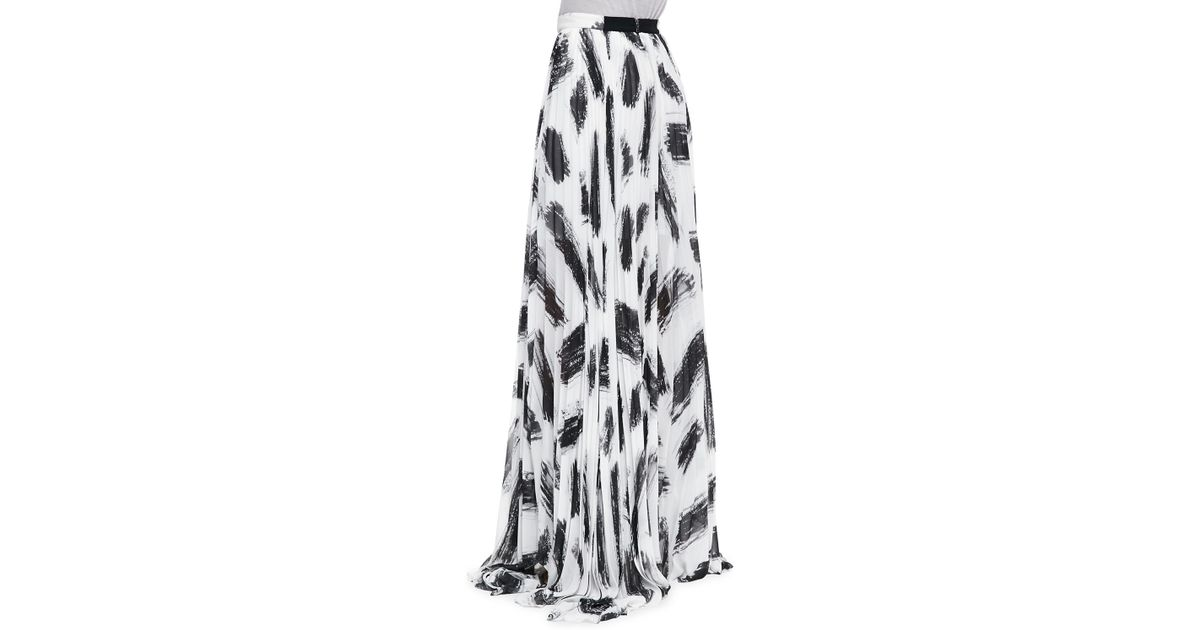 c50d07beb7 Alice + Olivia Shannon Pleated Brushprint Maxi Skirt Alice Olivia - Lyst