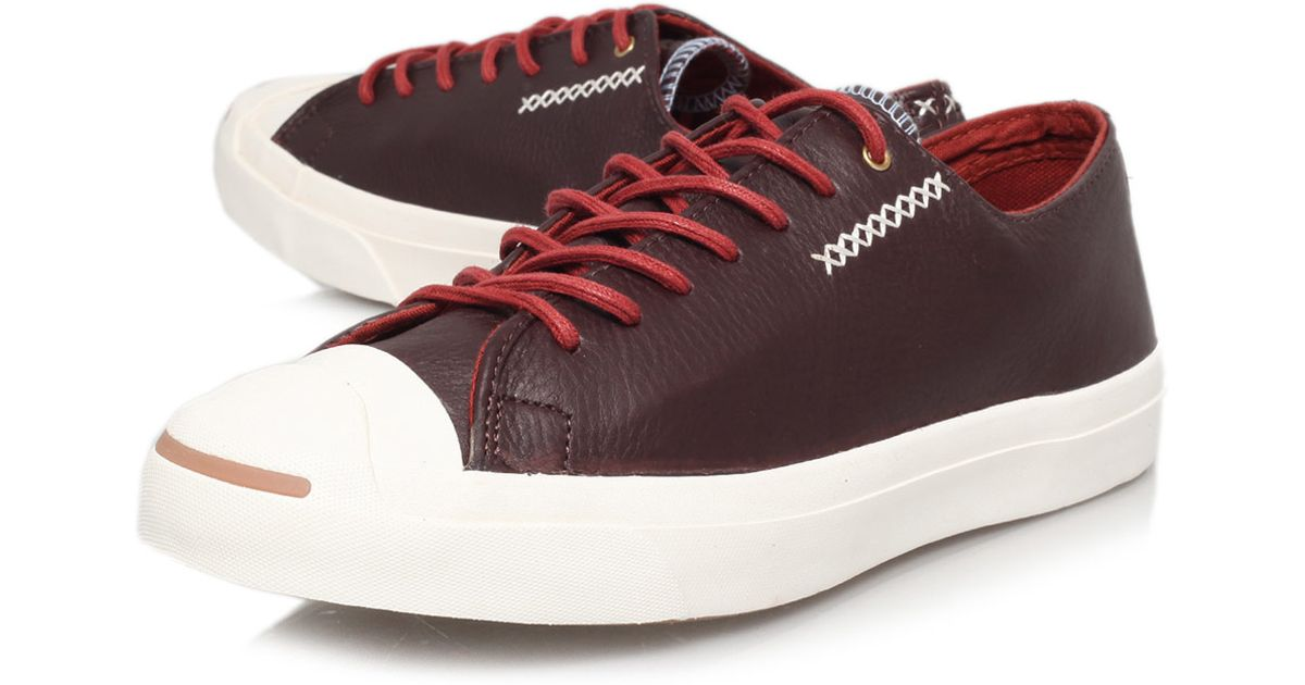 aad012bfabc0 Lyst - Converse Burgundy Jack Purcell Cross Stitch Low Leather Trainers in  Purple for Men