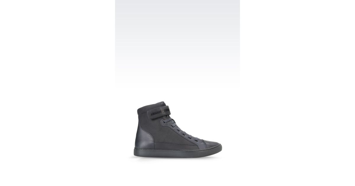 armani jeans high top sneaker in nubuck in gray for men. Black Bedroom Furniture Sets. Home Design Ideas