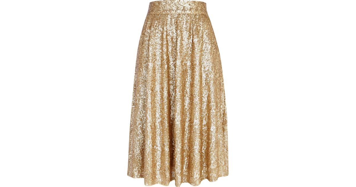 River island Gold Sequin A Line Midi Skirt in Metallic | Lyst