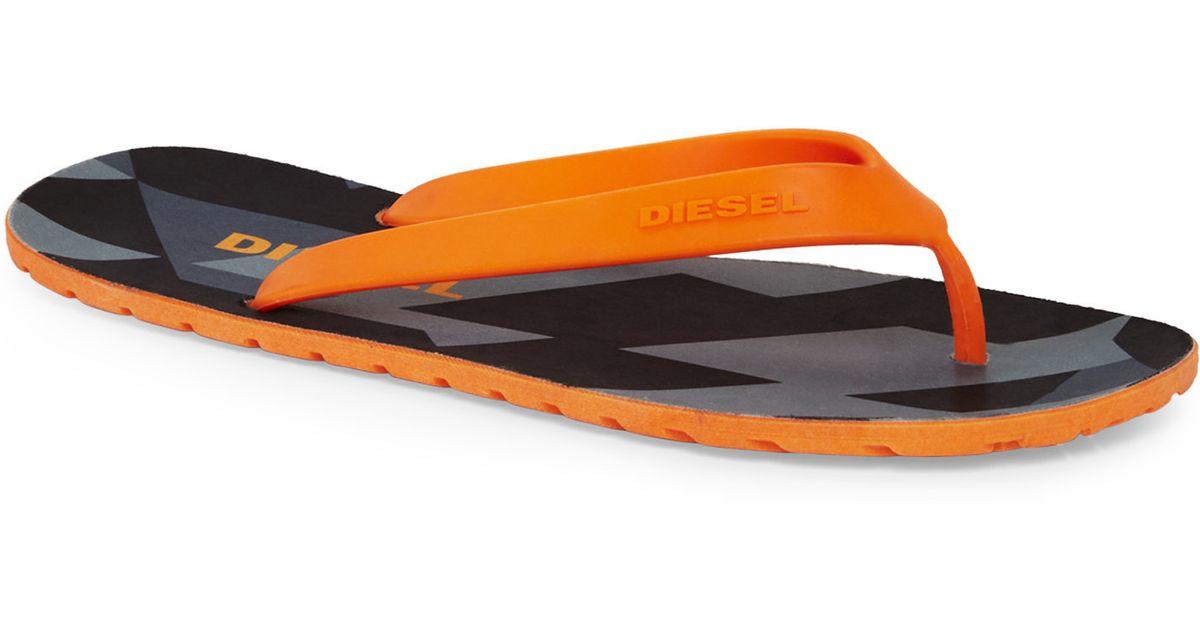 Diesel Orange Plaja Splish Flip Flops In Orange For Men