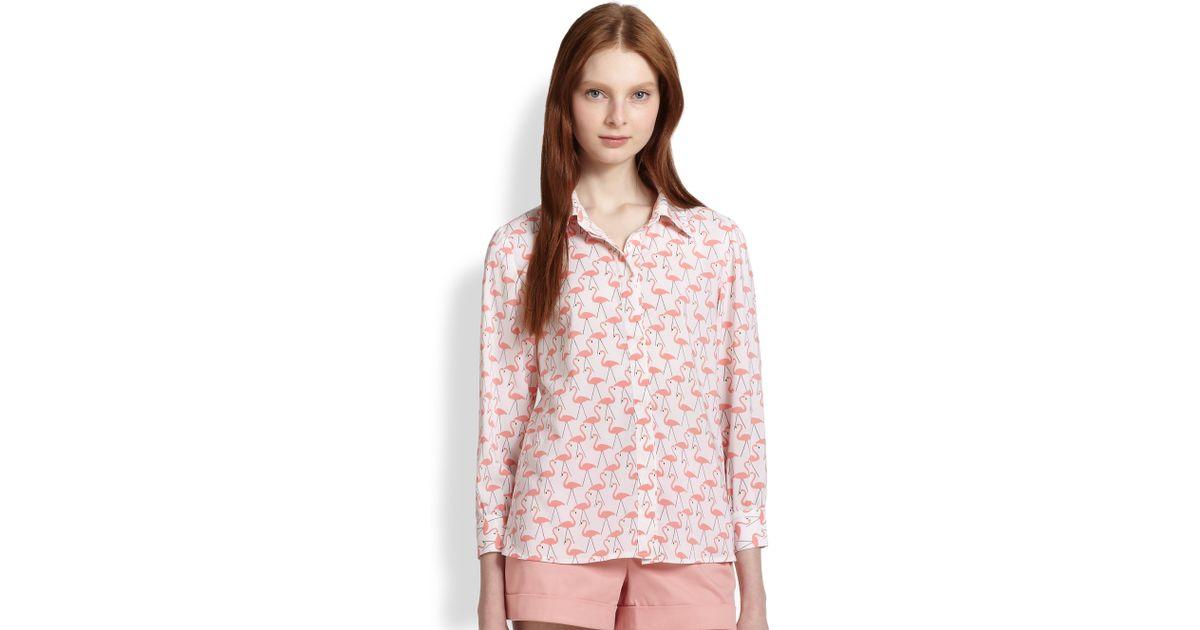 483351add4647 Lyst - Alice + Olivia Willa Flamingoprint Shirt in Pink