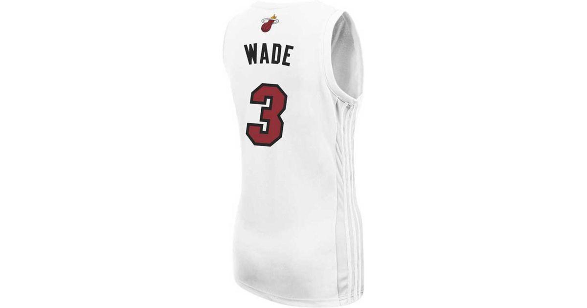 best service 05b18 f28c2 Adidas Originals White Women's Miami Heat Dwyane Wade Jersey