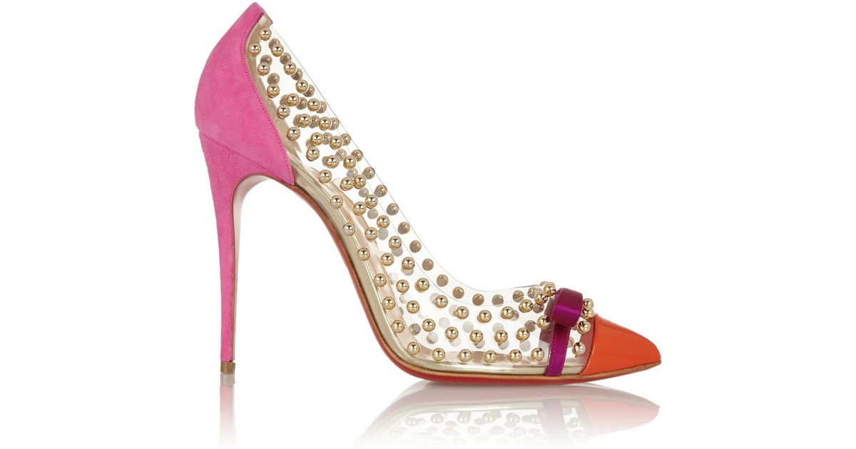 523c88026644 Christian Louboutin Bille Et Boule 100 Studded Pvc And Suede Pumps in  Orange - Lyst