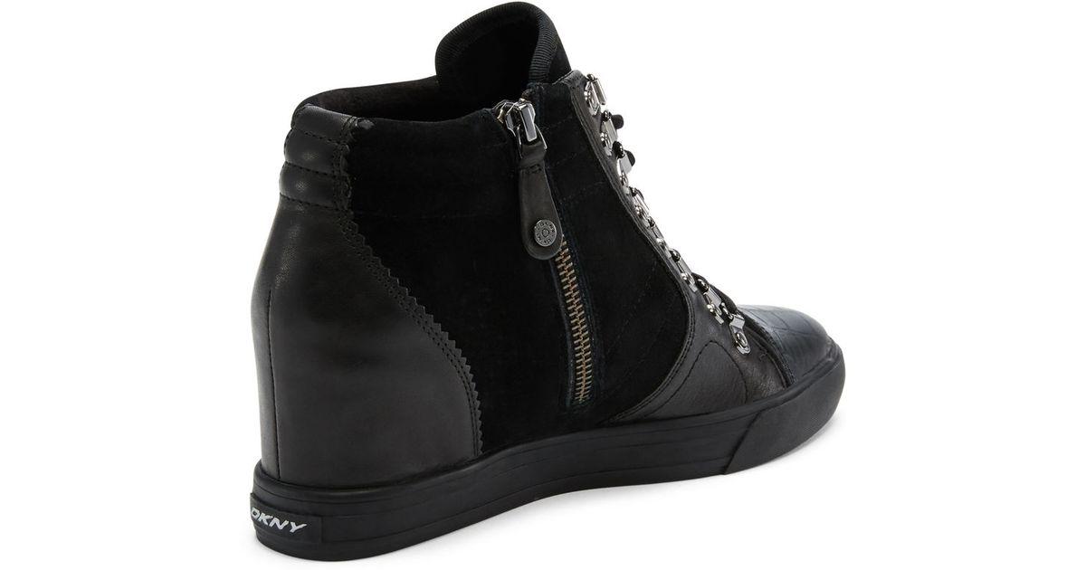 8adb25d06e91 DKNY - Black Cindy Wedge Sneaker - Lyst