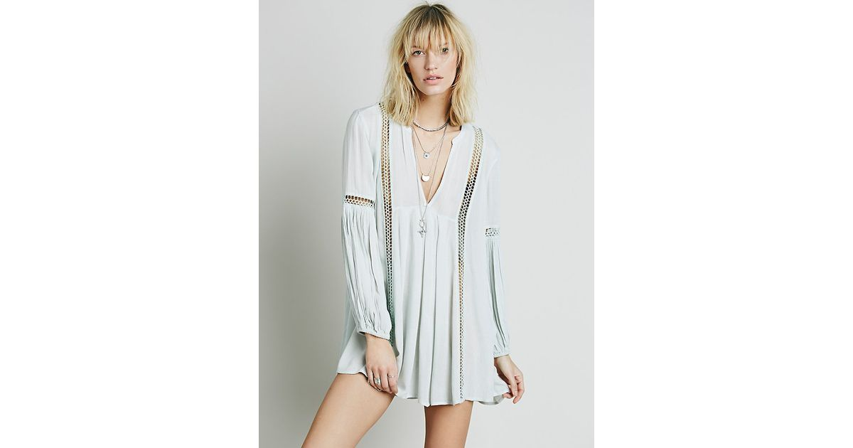 f26d96f45991 Free People Babydoll Lace Inset Swing Tunic in Blue - Lyst