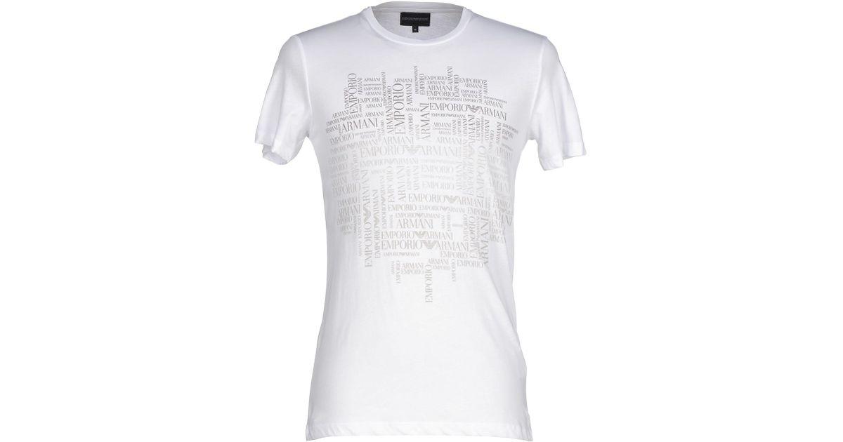 emporio armani t shirt in white for men lyst. Black Bedroom Furniture Sets. Home Design Ideas