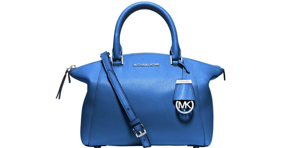 faac2bc9f6944 ... sweden michael michael kors riley small leather satchel bag in blue lyst  da110 1428d