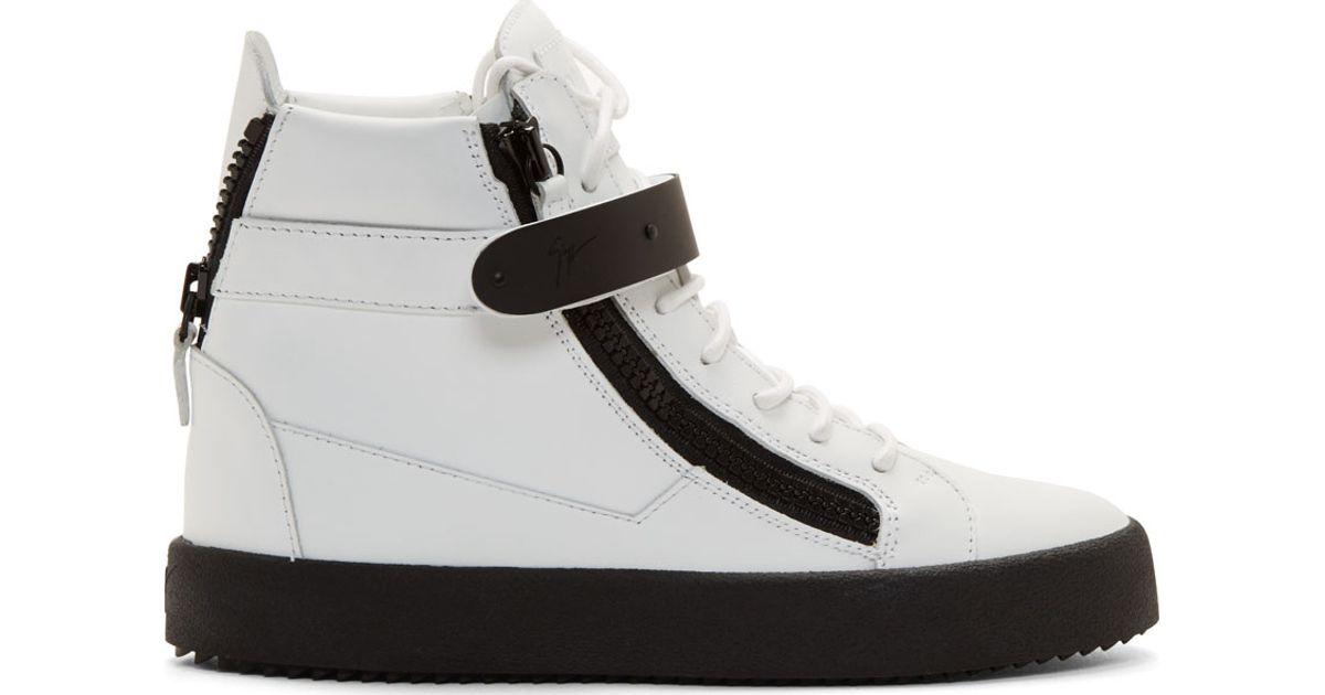 Lyst - Giuseppe Zanotti White   Black Leather May Birel Sneakers in White  for Men a78e218e3462